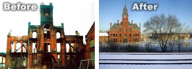Pullman Building before and after